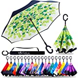 ZOTIA Double Layer Inverted Reverse Umbrella, Windproof Waterproof UV Protection Self Stand Upside Down Car Golf Outdoor…
