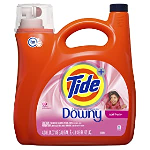 Tide Plus Downy HE Turbo Clean Liquid Laundry Detergent, April Fresh Scent, 4.06 L (72 Loads)