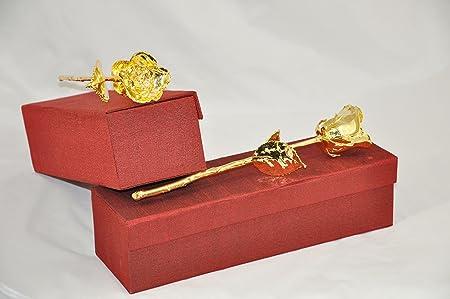 GOLDEN WEDDING ANNIVERSARY GIFT LUXURY 24K GOLD ROSE 24K GOLD 50th  ANNIVERSARY