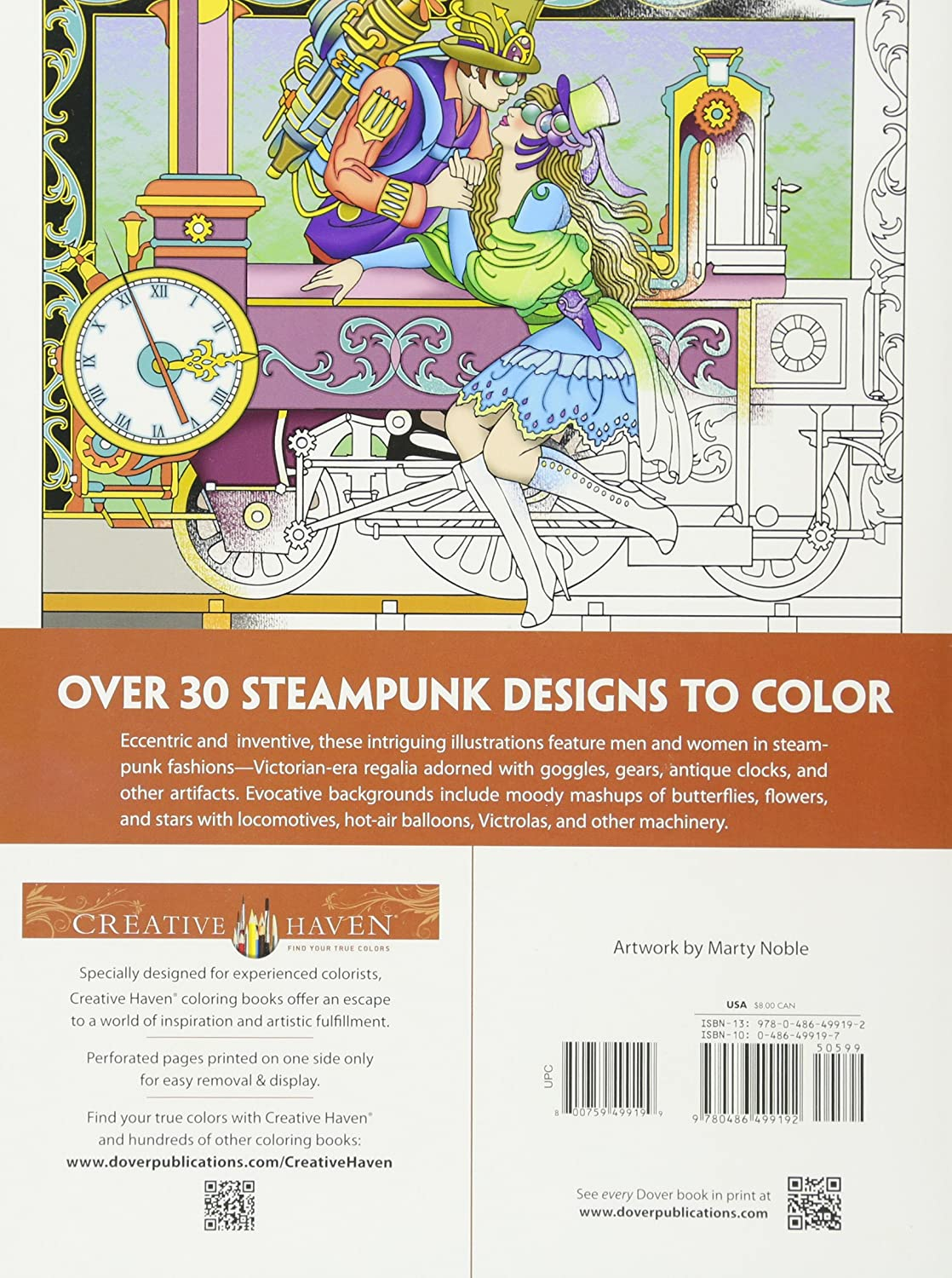 Dover DOV 99197 Steampunk Coloring Book Creative Haven Books Marty Noble Amazoncouk Kitchen Home