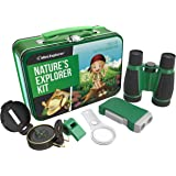 Outdoor Exploration Kit for Young Kids | Tin Case with: Binoculars, Magnifying Glass, Whistle, Hand-Crank Flashlight, Lensatic Compass in Beautiful Tin Case for Carrying and Storing