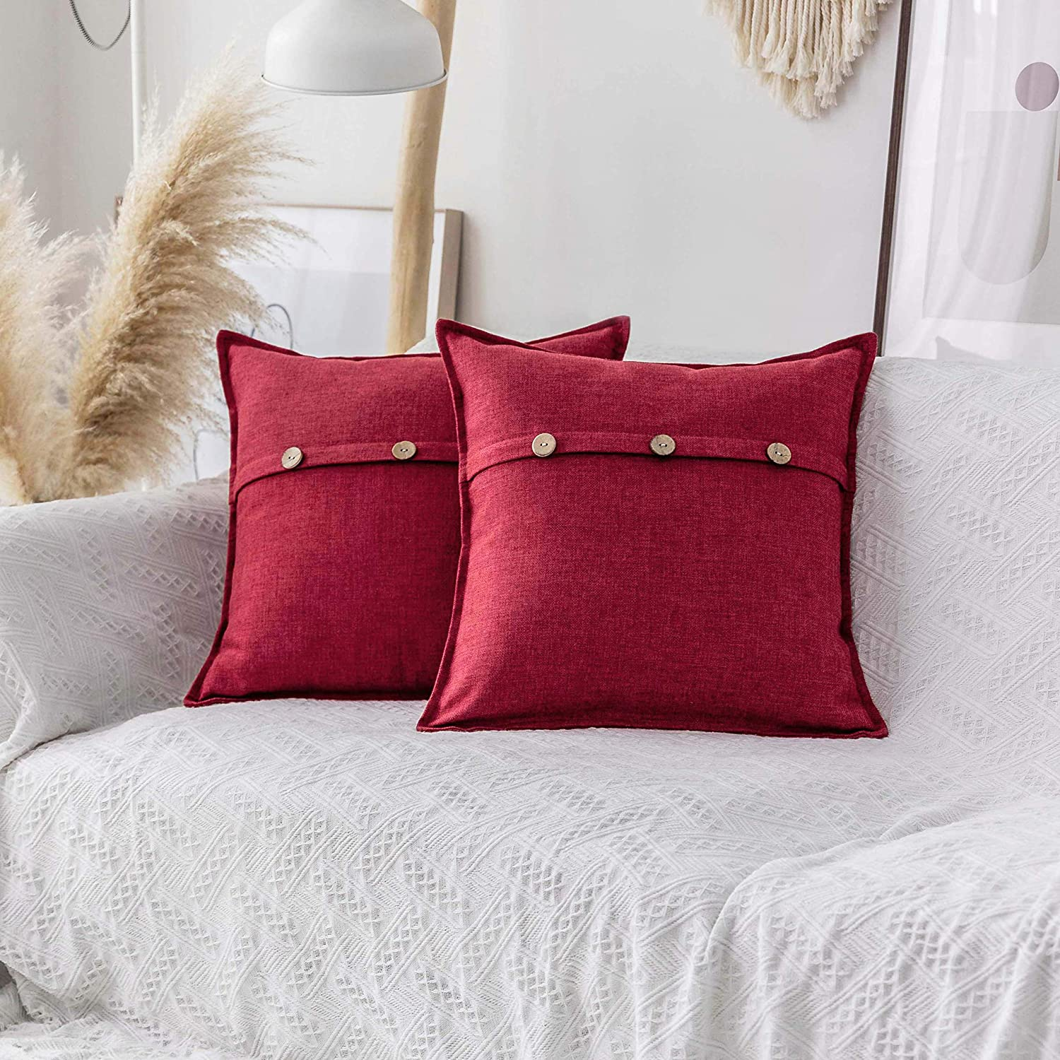 Home Brilliant Linen Textured Decorative Pillow Covers with Button Decoration Cushion Case Cover Sham for Sofa, 18x18 inches (30x50cm), Pack of 2, Burgundy Red
