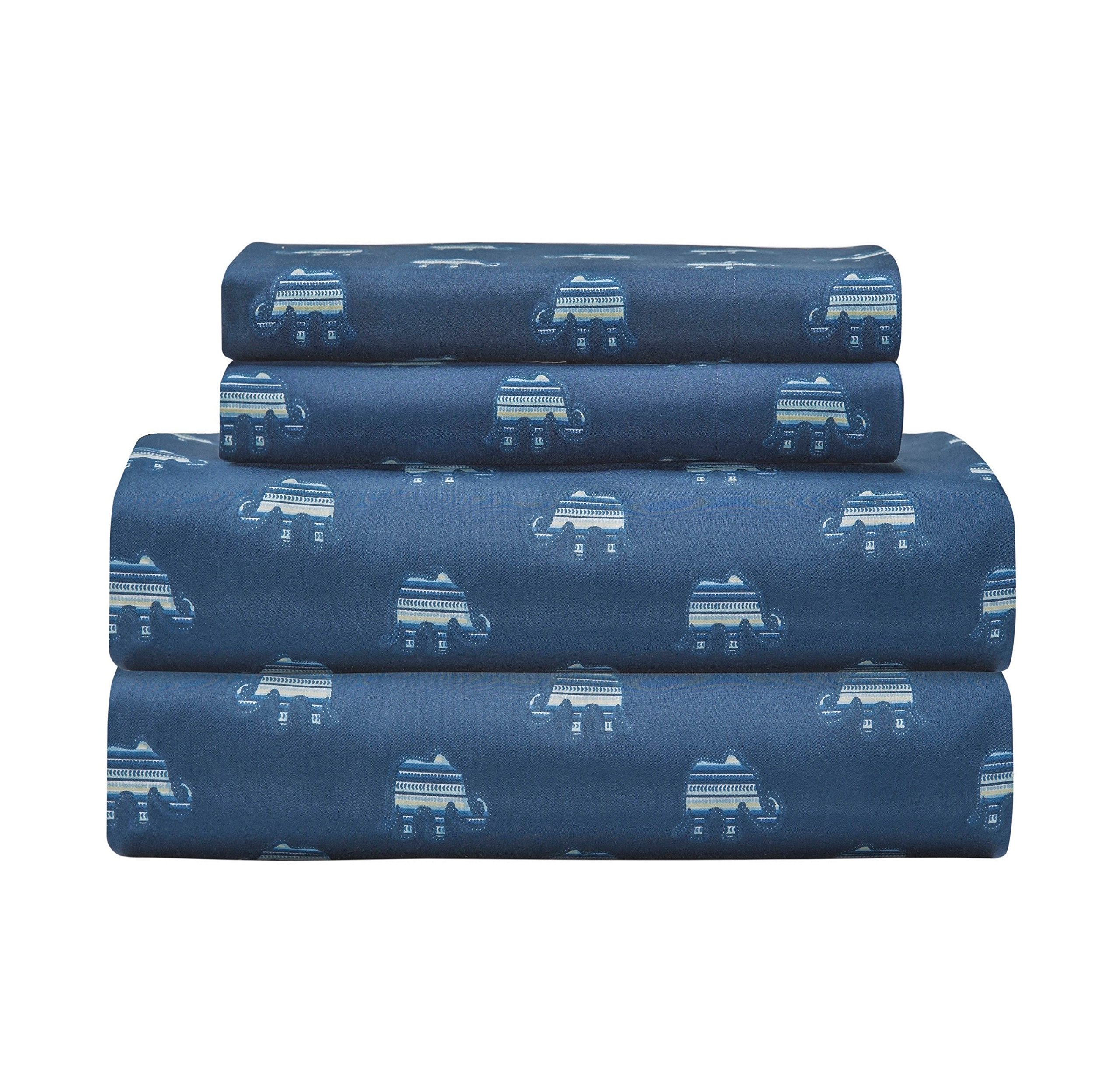 N-A 4 Piece Girls Elephant Indigo Blue Sheet King Set, Dark Blue Color Animal Print Boho Printed Kids Bedding Teen Bedroom, Whimsical Design Contemporary Zoo Jungle Safari, Polyester