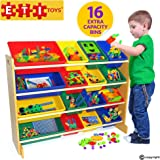 ETI Toys | 16 Multi Bin Toy Organizer (Beech) | 4 Extra Large Capacity Bins | Durable, Premium Grade MDF | BPA-Free Fun Storage Bins for Kids and Baby | Best Childrens Playroom Furniture Toys Storage