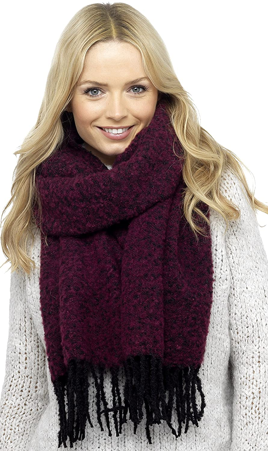 Foxbury Ladies Boucle Knit Scarf with Tassel Ends