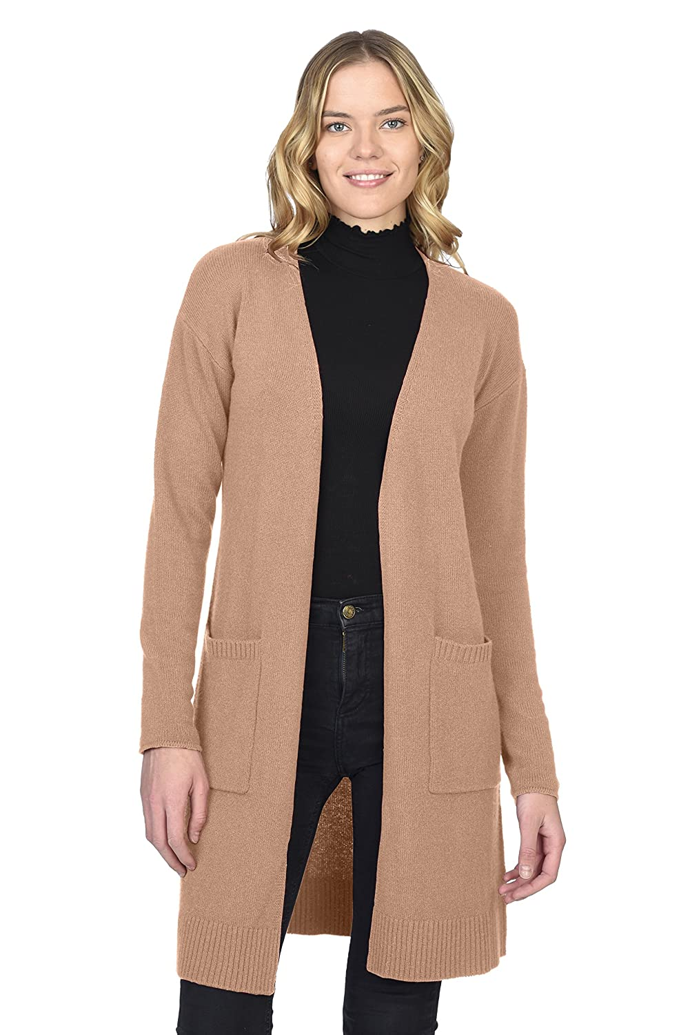 Cammello State Cashmere Women's 100% Pure Cashmere Open Front Long Cardigan