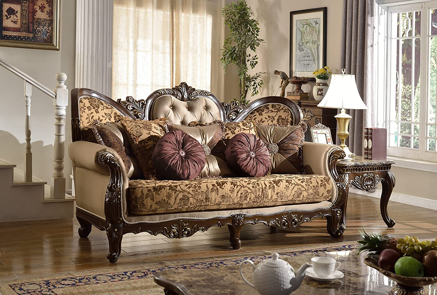 Meridian furniture 610 s catania solid wood upholstered armchair with imported fabrics button tufted back cushion and traditional hand carved designs