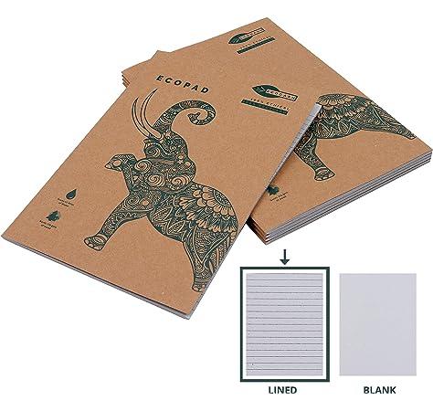 Cuaderno Espiral (Pack de 5) - A4 Cuaderno Papel Reciclado 60GSM con Líneas 160 Páginas / 80 Hojas Ecológico Tapa Marrón Kraft Escribir Casa, Oficina Estudiantes: Amazon.es: Oficina y papelería