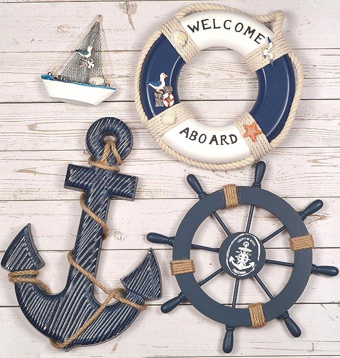 Nautical Wooden Ship Sailboat Boat Steering Wheel Maritime Net Home Wall Decor