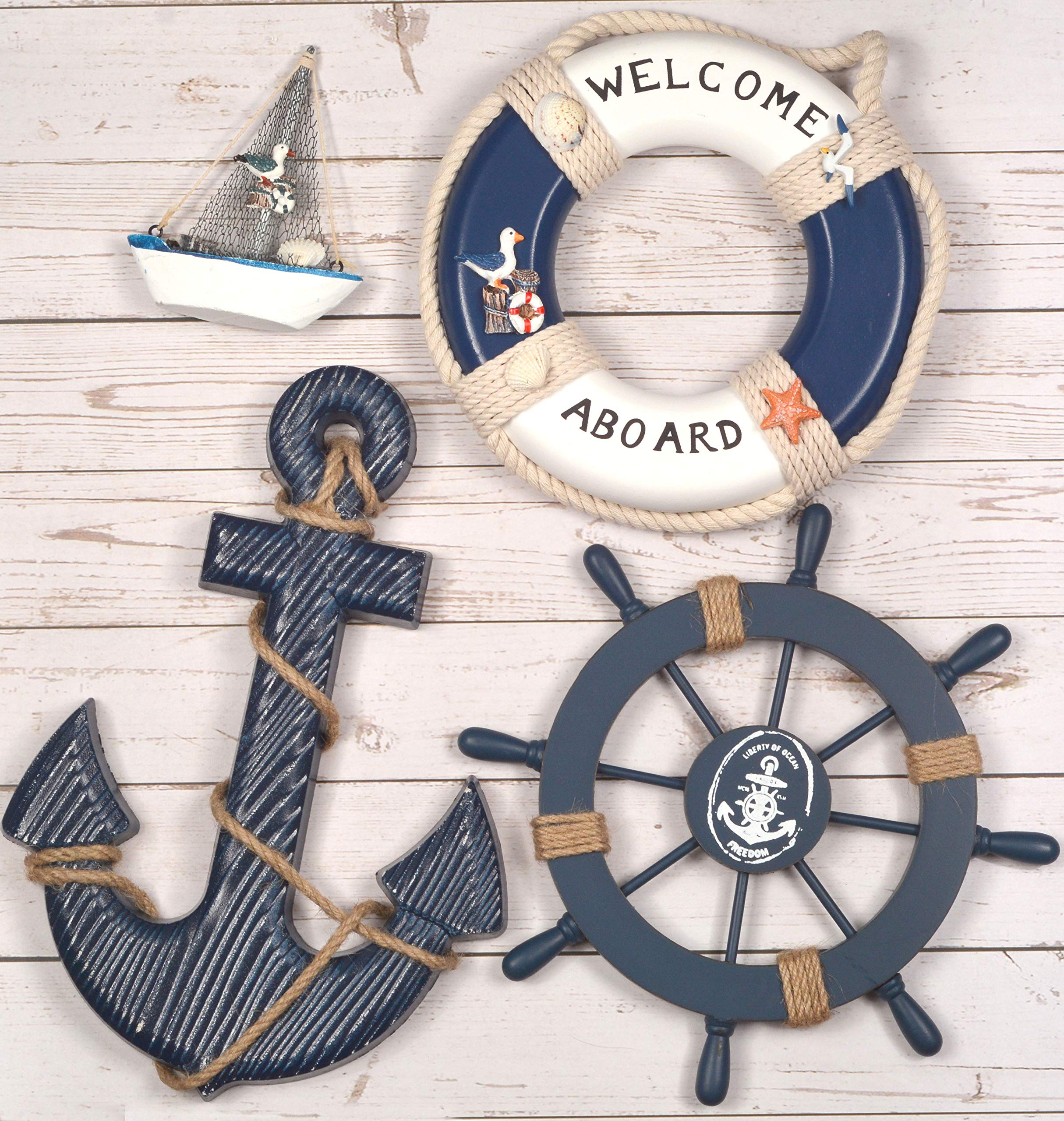 Wooden Nautical Lighthouse Anchor Wall Hanging Ornament, Beach Wooden Boat Ship Steering Wheel Wall Decor, Nautical Sailing Ship Table Display Decor, Nautical Life Ring Wall (Blue) (Blue) by MEANT2TOBE