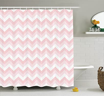 Ambesonne Chevron Shower Curtain Set Pink Decor Zigzag Grunge Pattern Soft Light Colors Simplicity