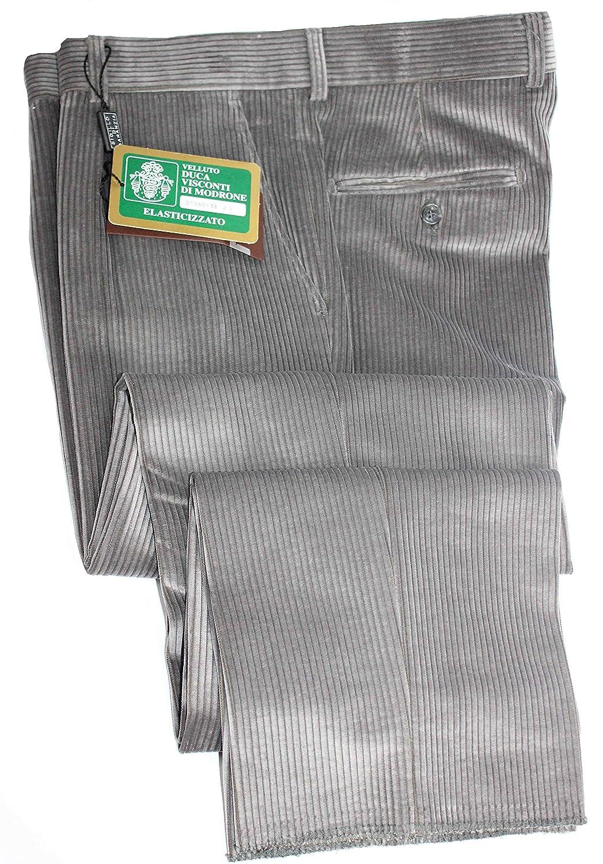Profili di Toscana.Pantalone Uomo Velluto Duca Visconti di Modrone Elasticizzato a Coste.Taglie Forti.Made in Italy.Misure CALIBRATE Fino alla TG.75