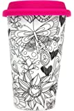 Color Joy I Am Not A Paper Cup, Travel Coffee Mug Hearts Adult Coloring Products, White