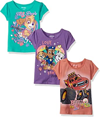 Nickelodeon Girls' Little Girls' Blaze and Paw Patrol 3 Pack T-Shirts