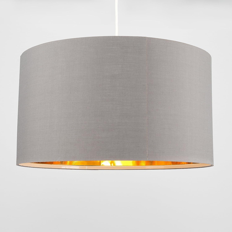 MiniSun - Pantalla para lámpara de techo/lámpara de mesa, moderna y cilíndrica - Polialgodón, gran dimensión 450mm - Gris cálido e interior dorado