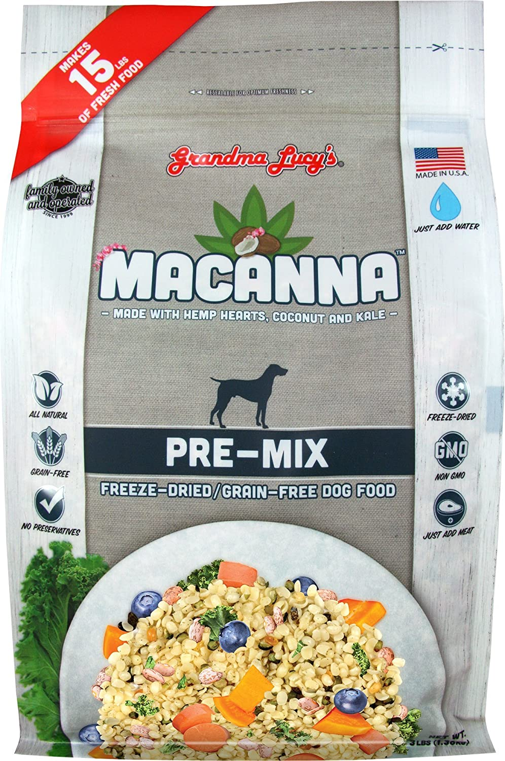 Grandma Lucy's Macanna Dog Food, Grain Free and Freeze-Dried - Pre-Mix, 3Lb Bag