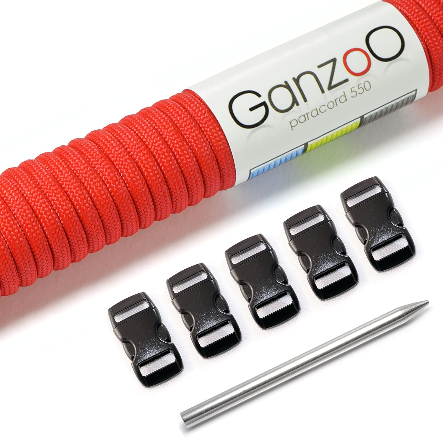 'Ganzoo Paracord 550Set–Make Your Own Dog Collar or Dog Lead, Wires with 4mm Thickness/Made of Plastic (3/8) and Paracord Pin Craft Set–Available in a Wide Range of Colours Ganzoo #5011_5110