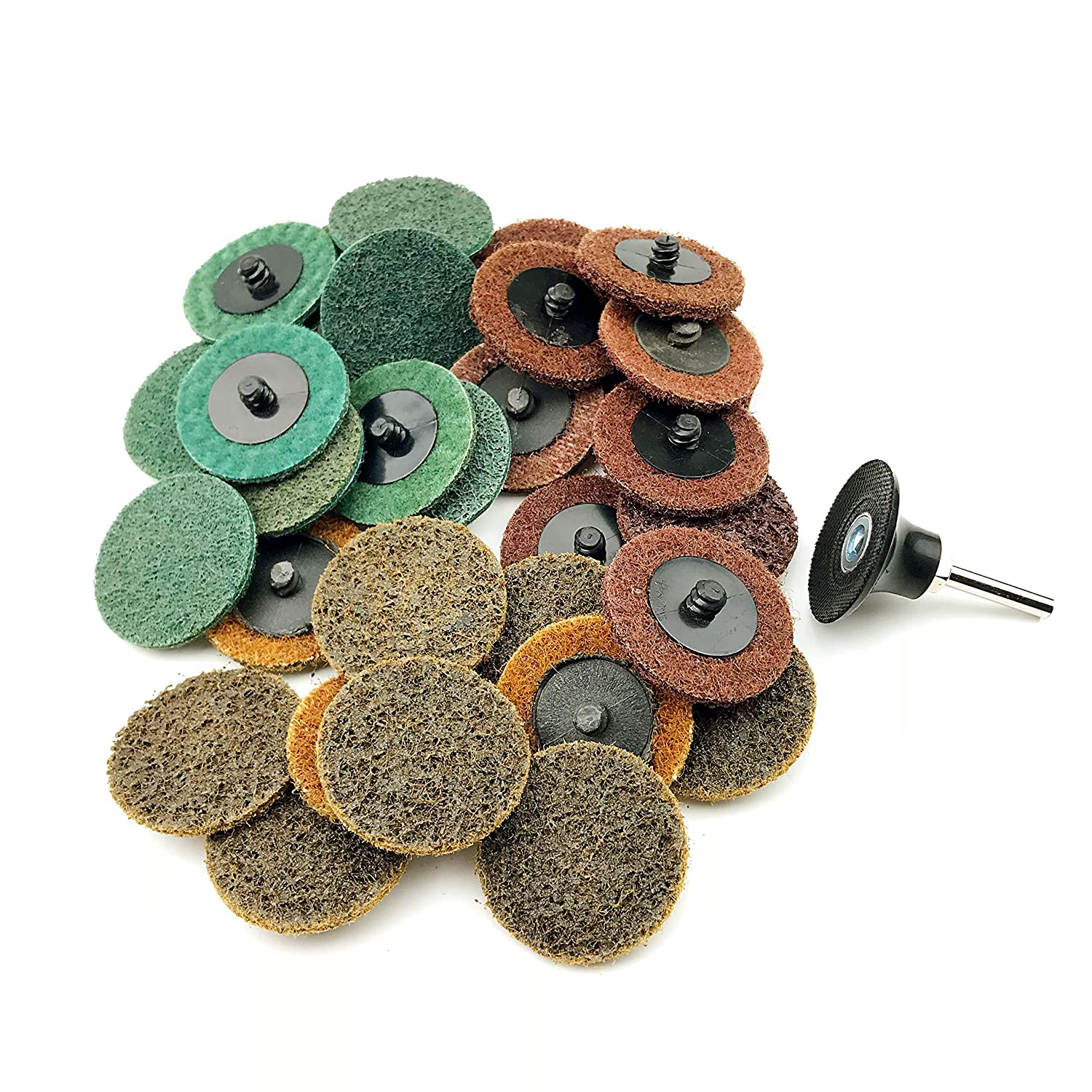 10pcs each of Coarse//Medium//Fine Grit total 30pcs + 1//4 Shank Disc Pad Holder 2 Inch Assorted Grit Roloc R-Type Sanding Discs Nylon Non Woven Fabric Quick-Change Surface Conditioning Disc