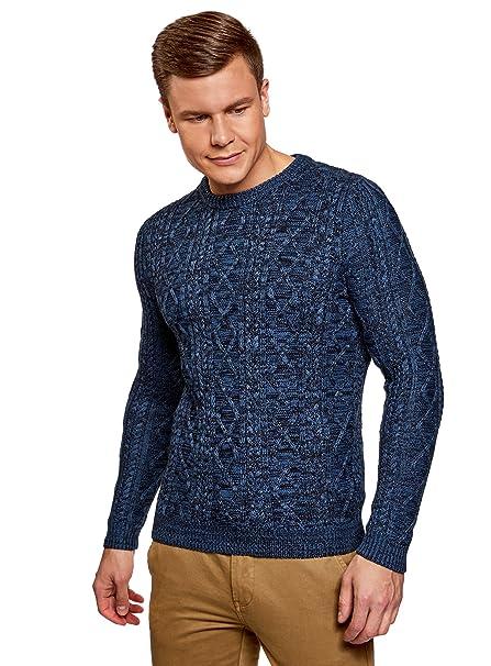 oodji Ultra Hombre Suéter de Punto con Decoración Texturizada Jy2G99