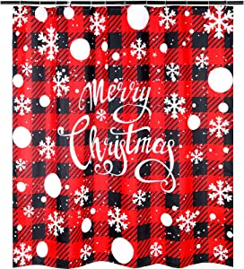 Merry Christmas Shower Curtain Red and Black Buffalo Bathroom Curtain with White Dots and Snowflake Polyester Curtain Decor with 12 Pieces Hooks, 72 x 72 inches
