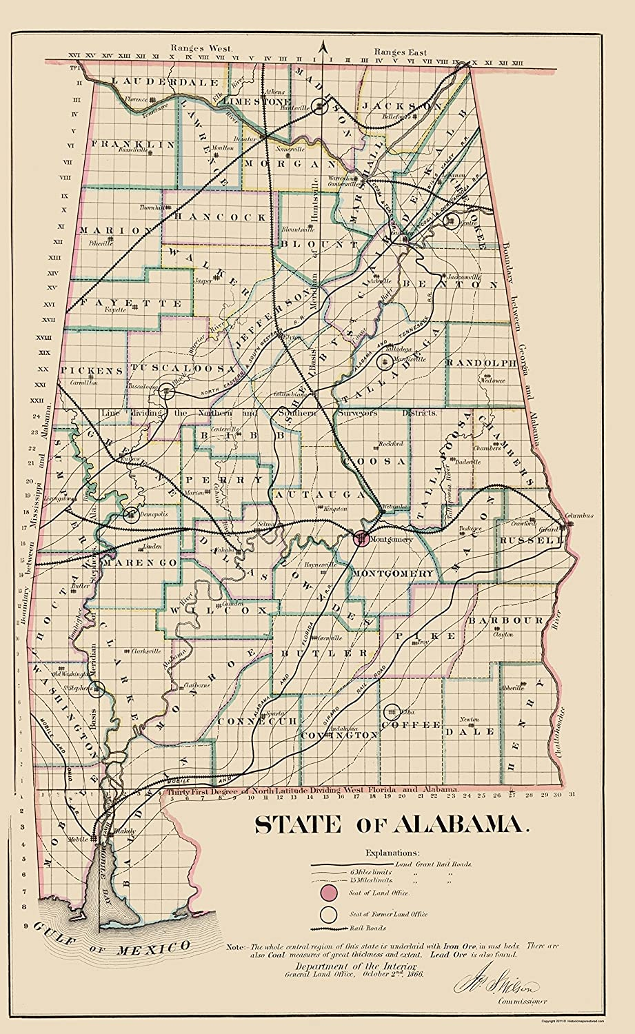 Amazon.com: MAPS OF THE PAST Alabama - Glo 1866-23 x 37.48 ... on gpt map, gev map, gus map, dan map, givenchy map, globe map, goa map, gog map,
