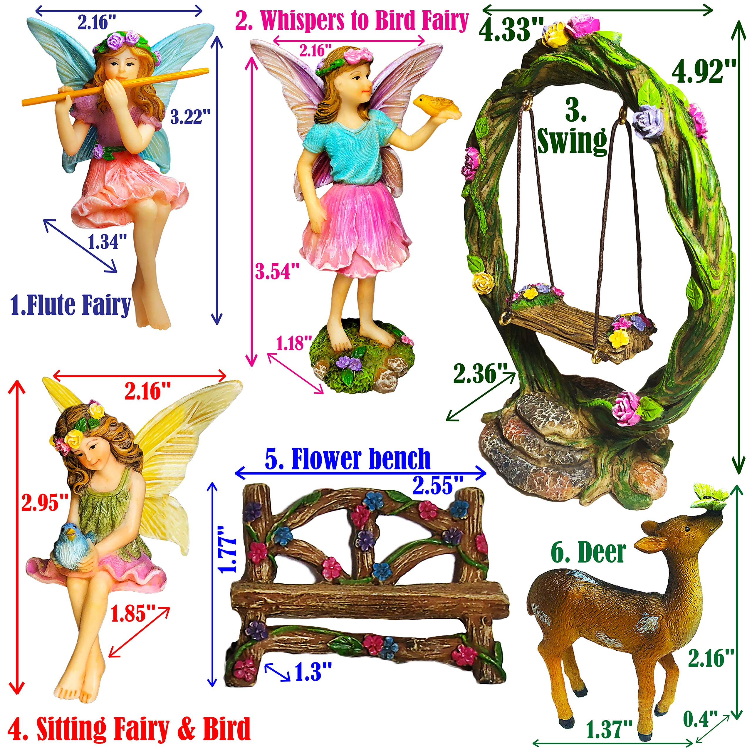 Mood Lab Fairy Garden Kit - Miniature Figurines with Accessories Swing Set of 6 pcs - Hand Painted for Outdoor or House Decor by Mood Lab (Image #2)