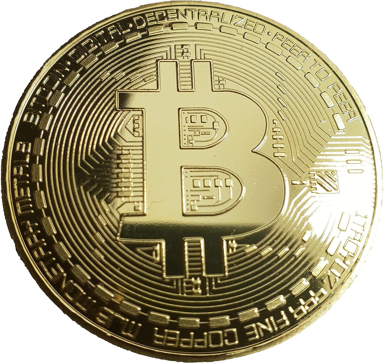 HS Bitcoin - Moneda de coleccionista con Revestimiento de Oro de 24 Quilates, diseño 3D y Funda Protectora: Amazon.es: Hogar