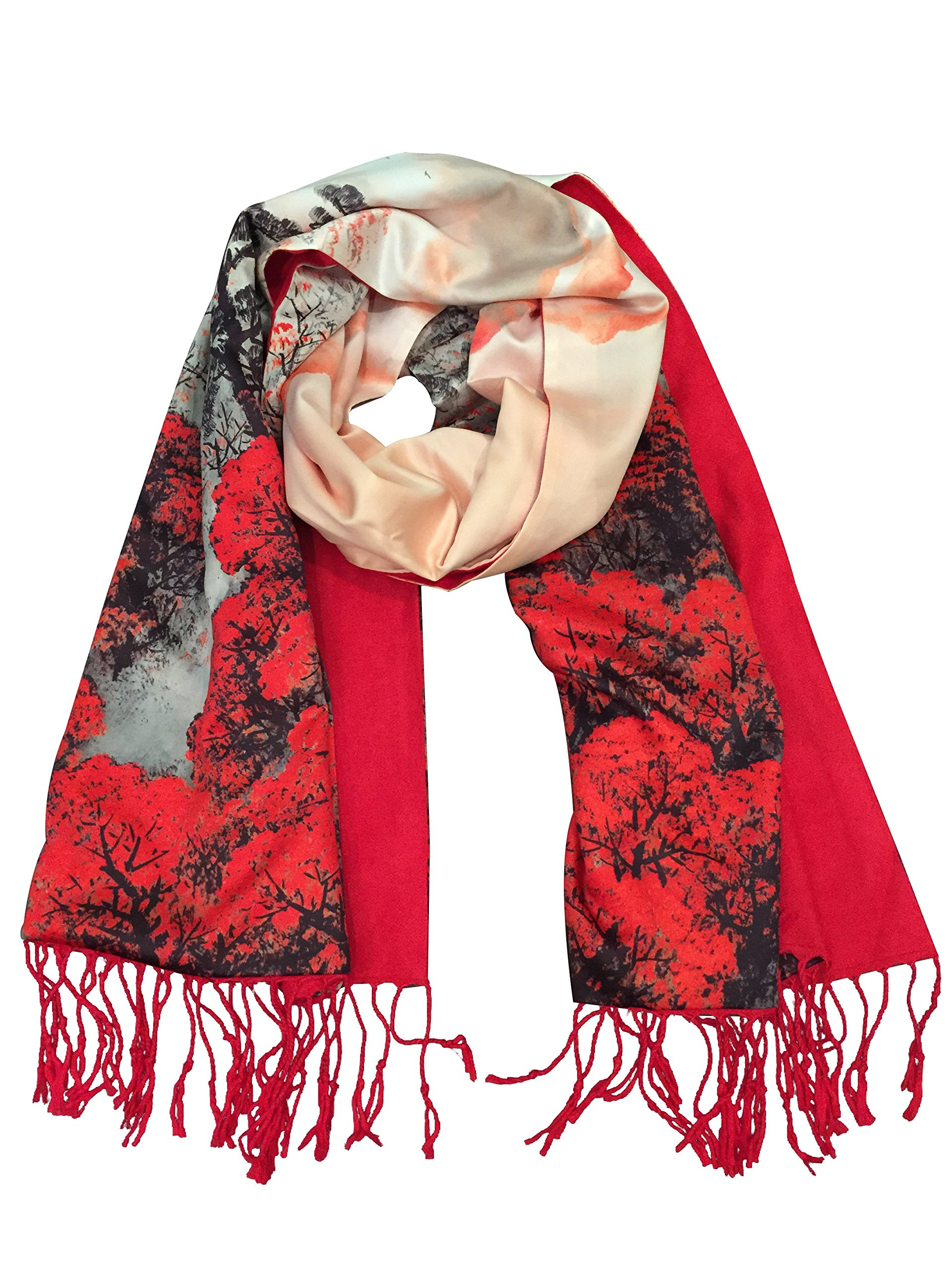 SiScarf by Siskalicious Women's Luxurious Fashions Double Layers Silk and Soft Cashmere Scarf Red Forest by Siskalicious (Image #4)