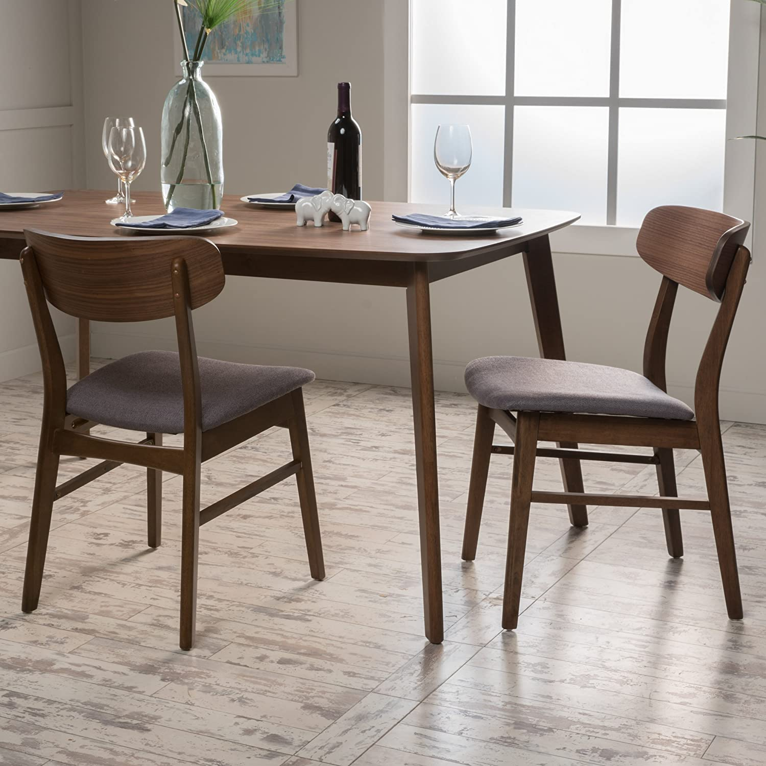 Christopher Knight Home 298990 Lucious Fabric/Walnut Finish Dining Chair (Set of 2), Dark Grey