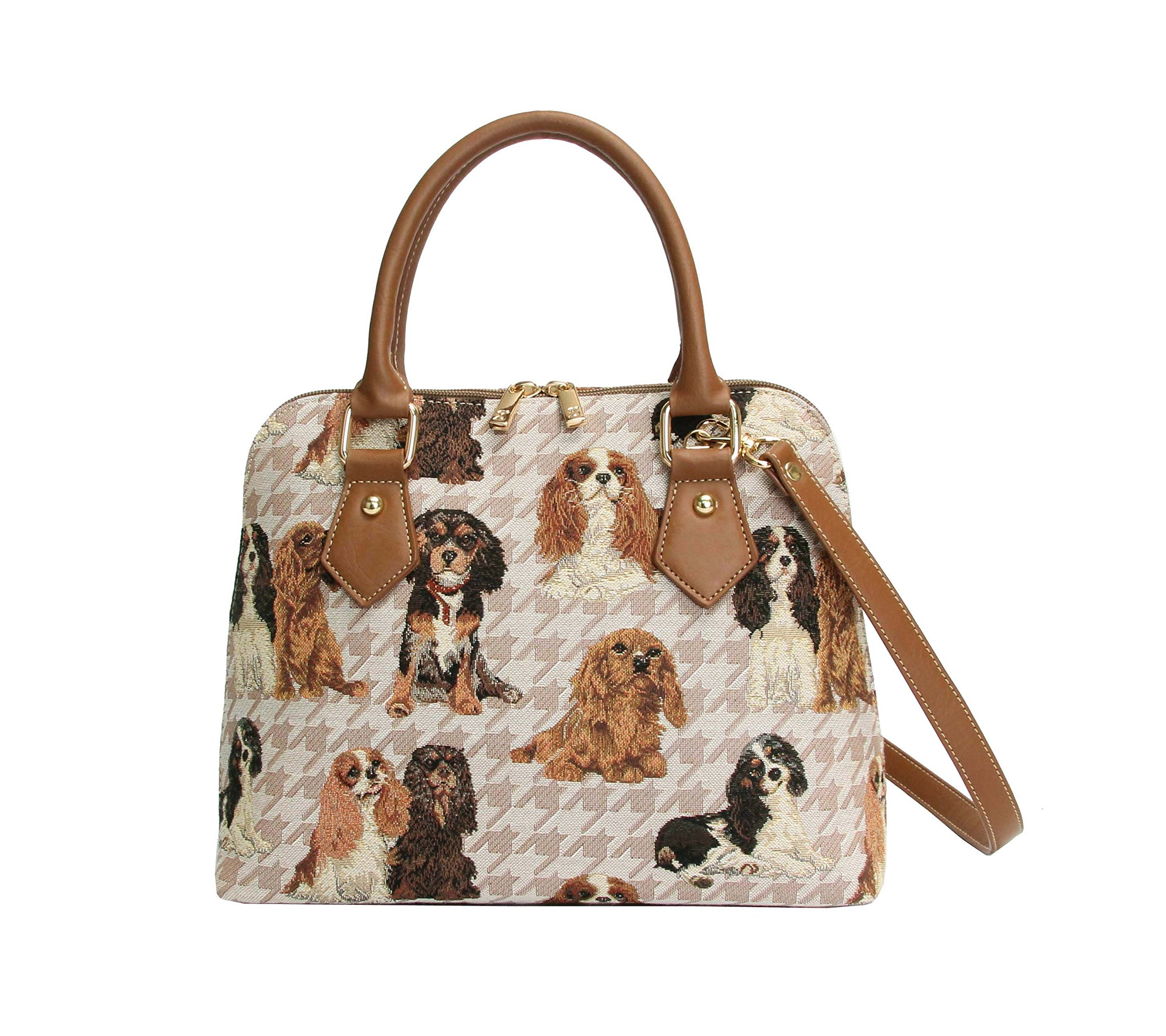 Signare Women's Tapestry Top Handle Handbag With Detachable Strap To Convert To Shoulder Bag With Cavalier King Charles Spaniel Dog (Conv-KGCS)