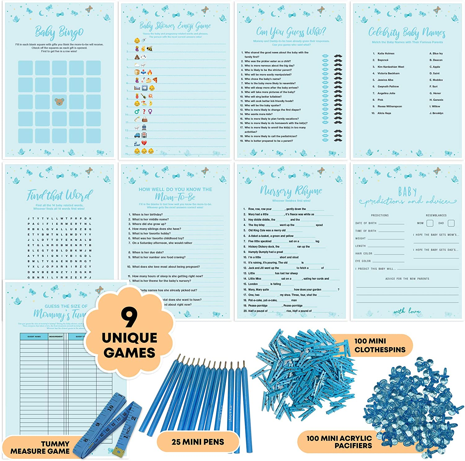 Dessie Baby Shower Games for Boys - Ultimate Boy Baby Shower Set | Includes 9 Unique Games, 25 Pens and Baby Boy Shower Decorations (100 Mini Clothespins +100 Mini Acrylic Pacifiers)