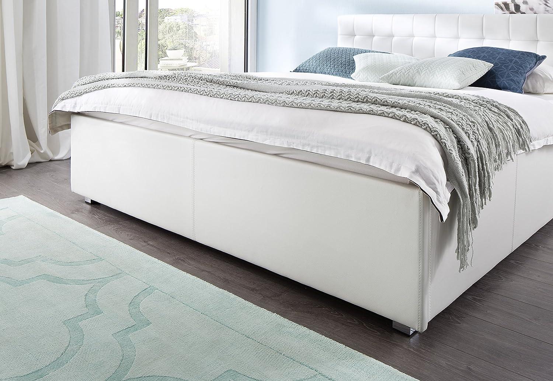 sette notti Polsterbett Bett 180x200 Weiß, Kunstleder-Bett mit ...
