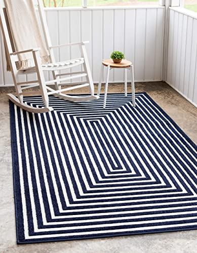 Unique Loom Sabrina Soto Outdoor Collection Geometric Carved Contemporary Navy Blue Area Rug 8' 0 x 10' 0