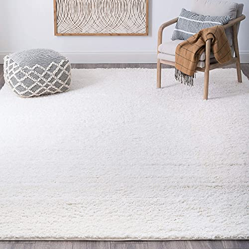 Milly White 8×10 Shag Rectangle Area Rug