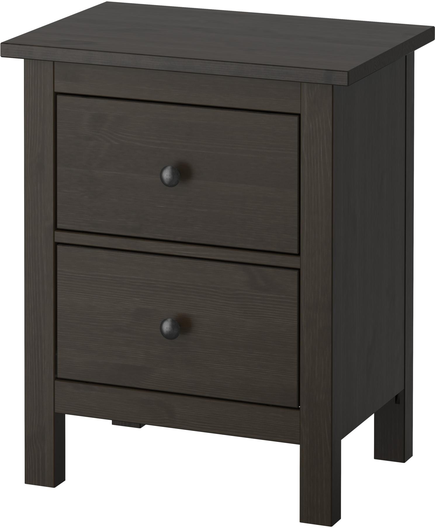 HEMNES 2-drawer chest - black-brown - IKEA