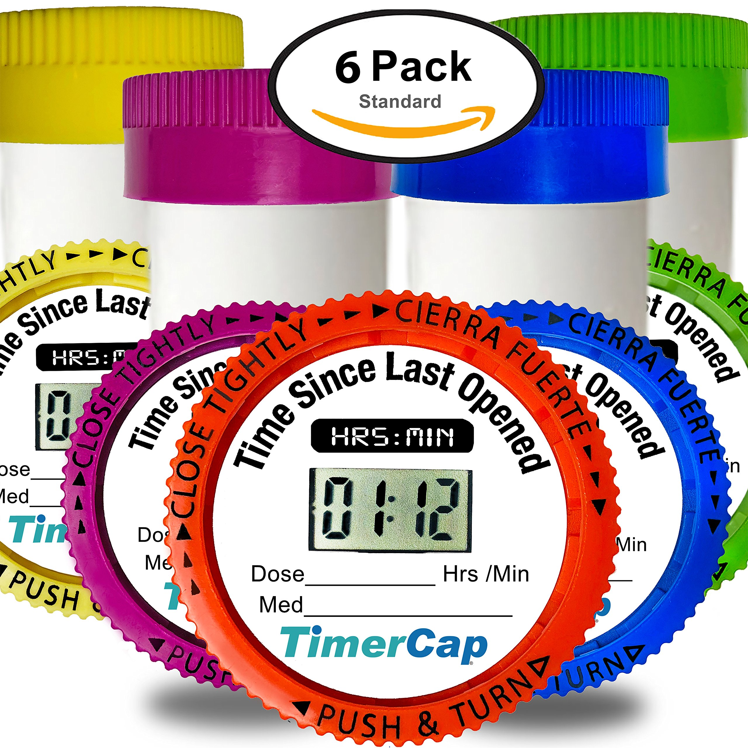 TimerCap Automatically Records Built-in Stopwatch Bottle Cap For Medication Organizer | Child Resistant (6 Pack, Standard, Multi Color)