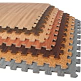 FOREST FLOOR Foam Printed Wood Grain, Cork Grain and Bamboo Grain Interlocking Foam Anti Fatigue Flooring Mats 2'x2' tiles