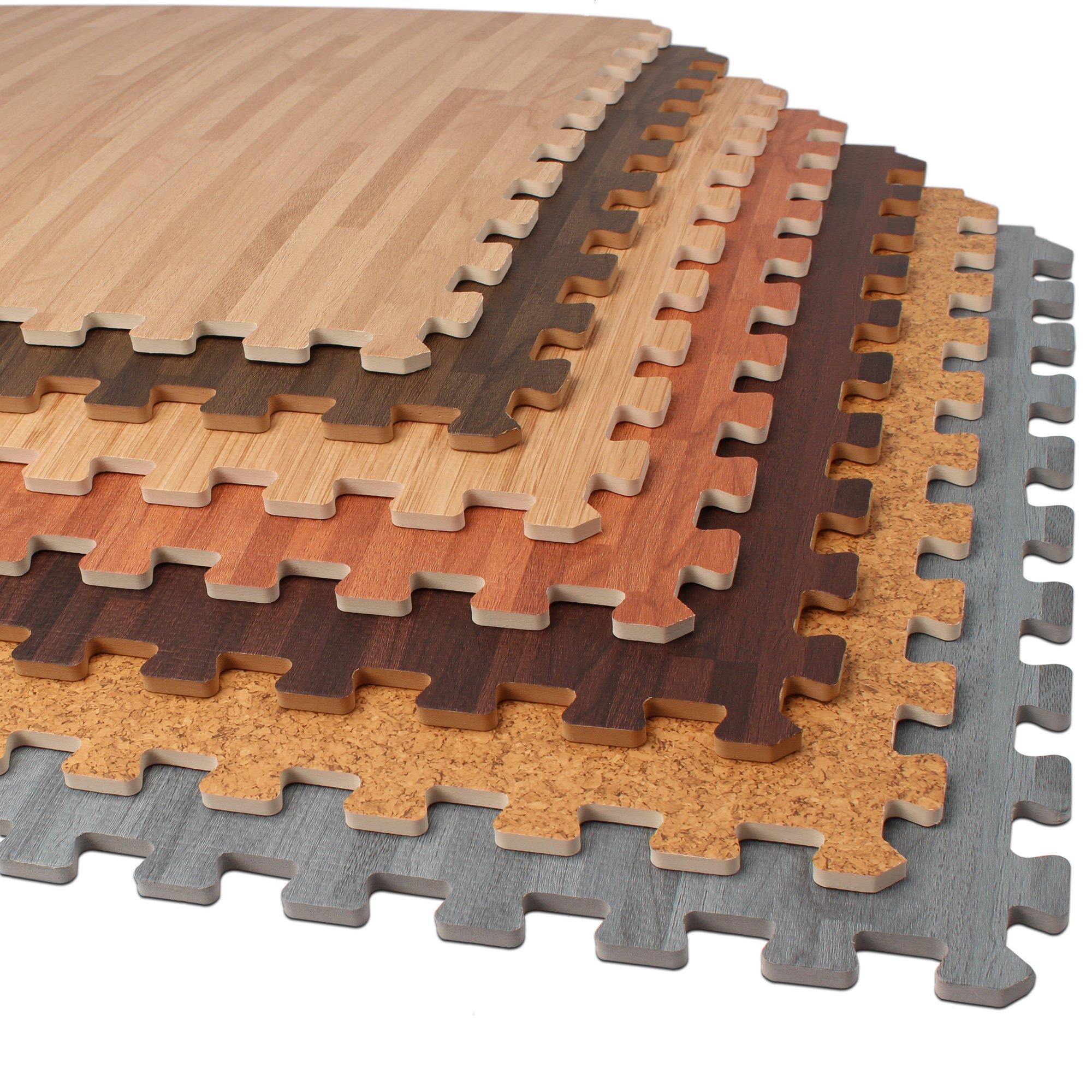 Forest Floor 3/8'' Thick Printed Wood Grain Interlocking Foam Floor Mats, 16 Sq Ft (4 Tiles), Cherry
