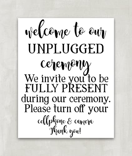 unplugged wedding sign unplugged ceremony sign reception sign no phones no cameras