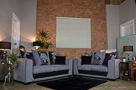 Harley 3 And 2 Seater Sofa Set   Grey / Plum