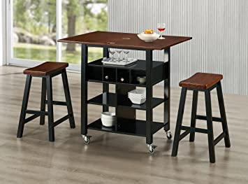 Amazon Com Concepts Phoenix Kitchen Island With Stools
