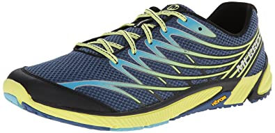 Merrell Men's Bare Access 4 Trail Running Shoe, Tahoe Blue/Sunny Yellow, 9