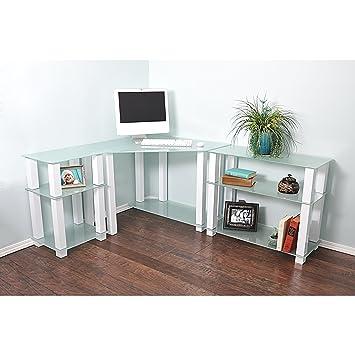 RTA Home and Office CT-013125W - Escritorio esquinero de Cristal ...