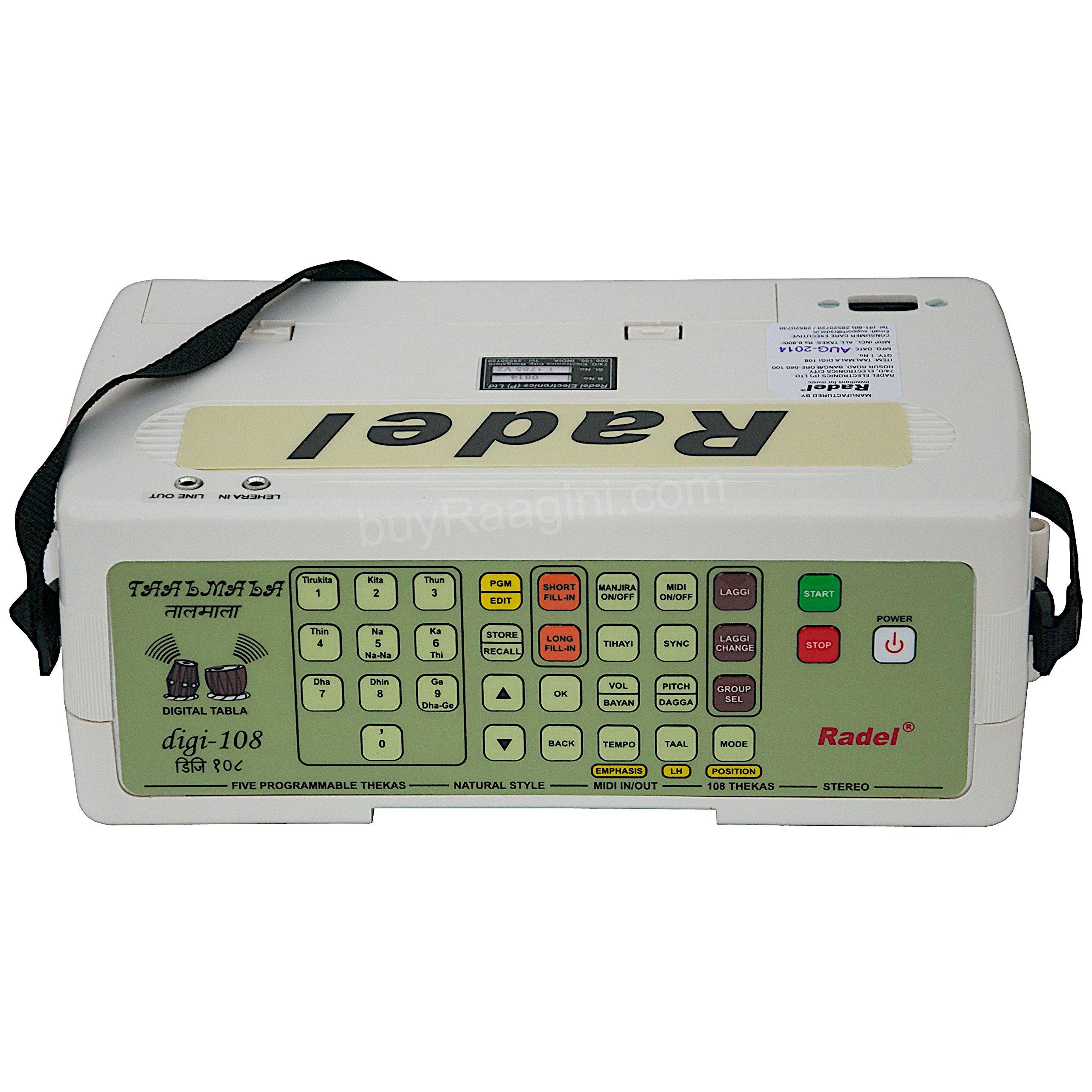 Electronic Tabla - RADEL Taalmala - Digi 108, Electronic Tabla & Manjira - Tabla Sampler, DJ Tabla Sound Machine, Instruction Manual, Power Cord, Bag (US-PDI-AAF) by Radel at buyRaagini.com (Image #6)
