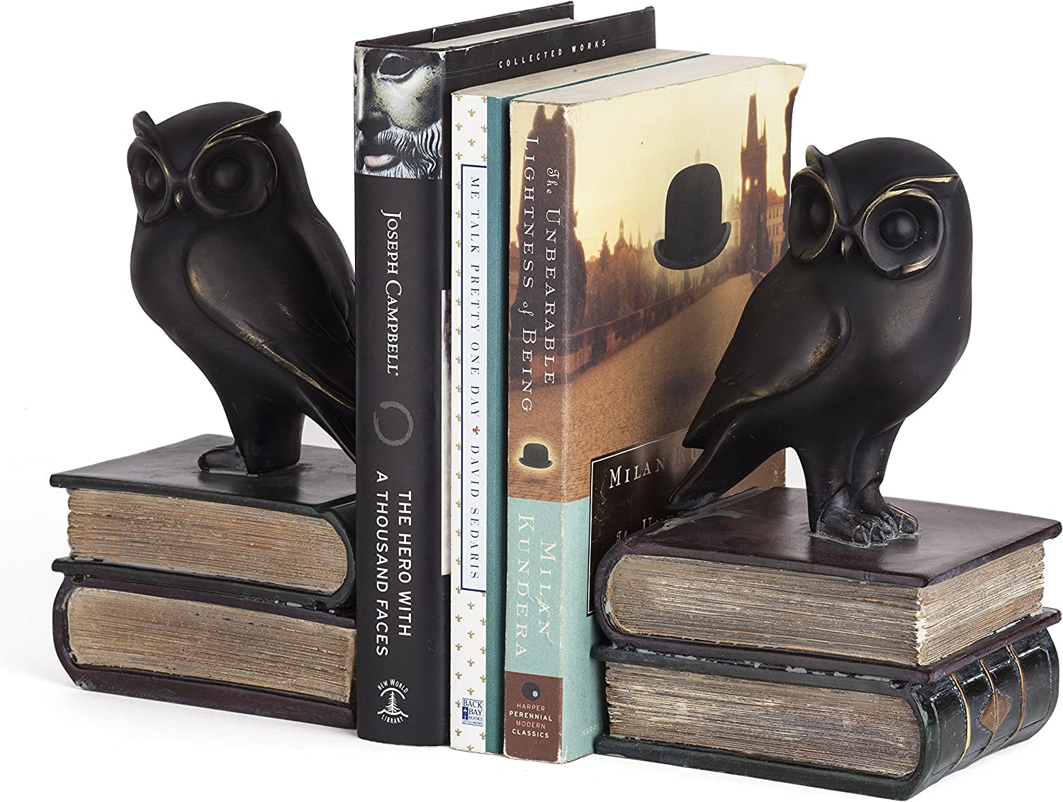 Danya B. Owl Bookends Decorative Rustic Bookshelf Decor - Owls Bookend Set for Heavy Books - Bronze Finish