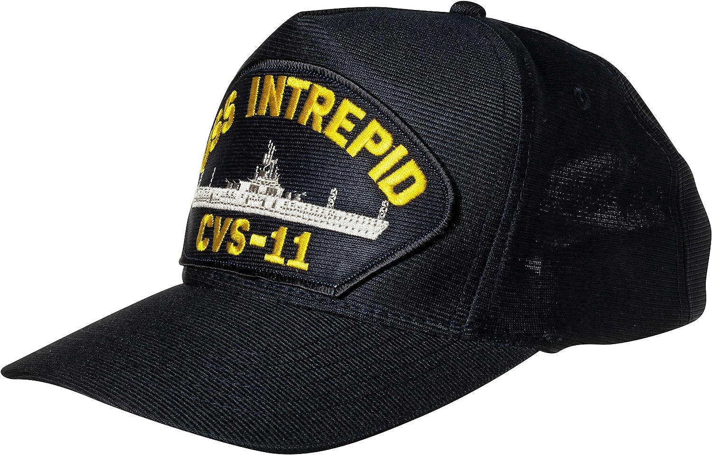 United States Navy USS Intrepid CVS-11 Aircraft Carrier Ship Emblem Patch Hat Navy Blue Baseball Cap