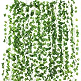 12 Pack (Each 82 inch) Artificial Greenery Fake Hanging Vine Plants Leaf Garland Hanging for Wedding Party Garden Outdoor Greenery Office Wall Decoration