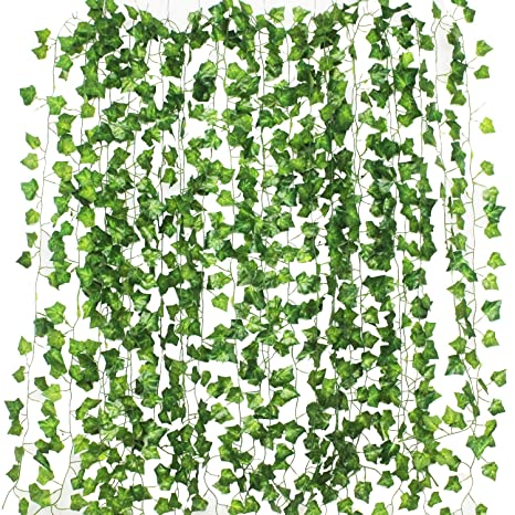 4c204c90a9f GPARK 12Pack / Each 82 inch , Artificial Ivy Garland Fake Plants , Green  For Wedding Party Garden Outdoor Greenery Wall Decoration