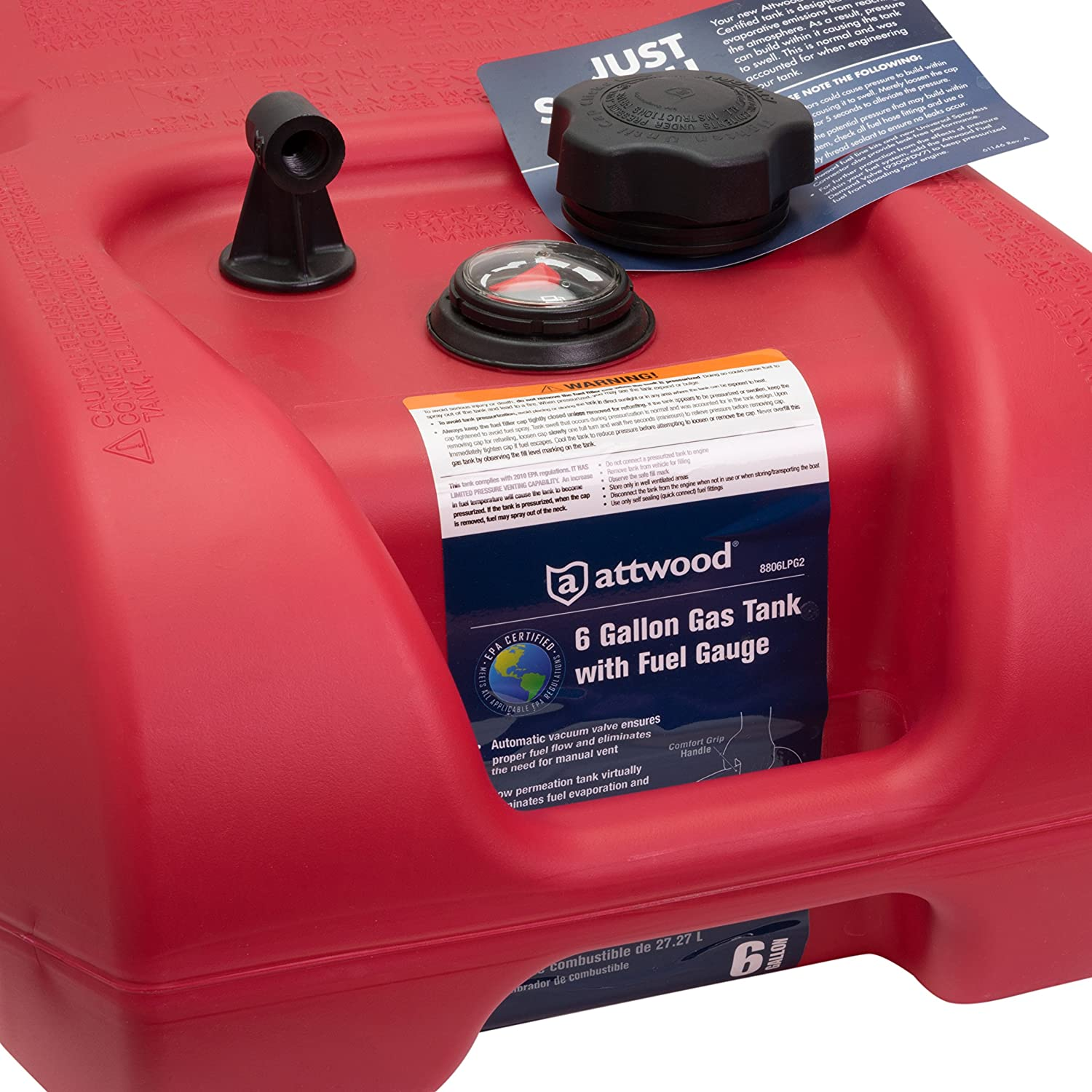 attwood 8806LP2 EPA and CARB Certified 6-Gallon Portable Marine Boat Fuel Tank