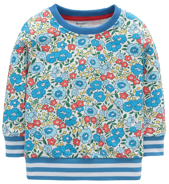 Fiream Girls Cotton Crewneck Cute Embroidery Sweatshirts(120Blue,6)
